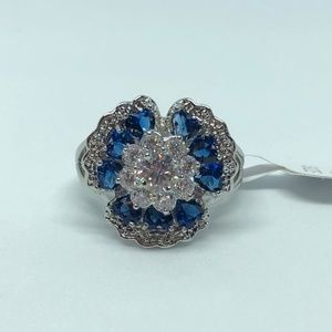 925 SF Sapphire White Topaz Floral Ring Size 10